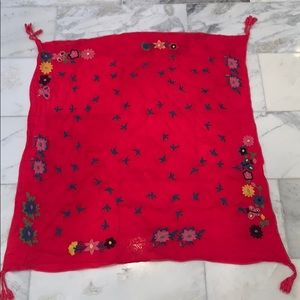 Johnny Was Embroidered Rayon Scarf with Tassels